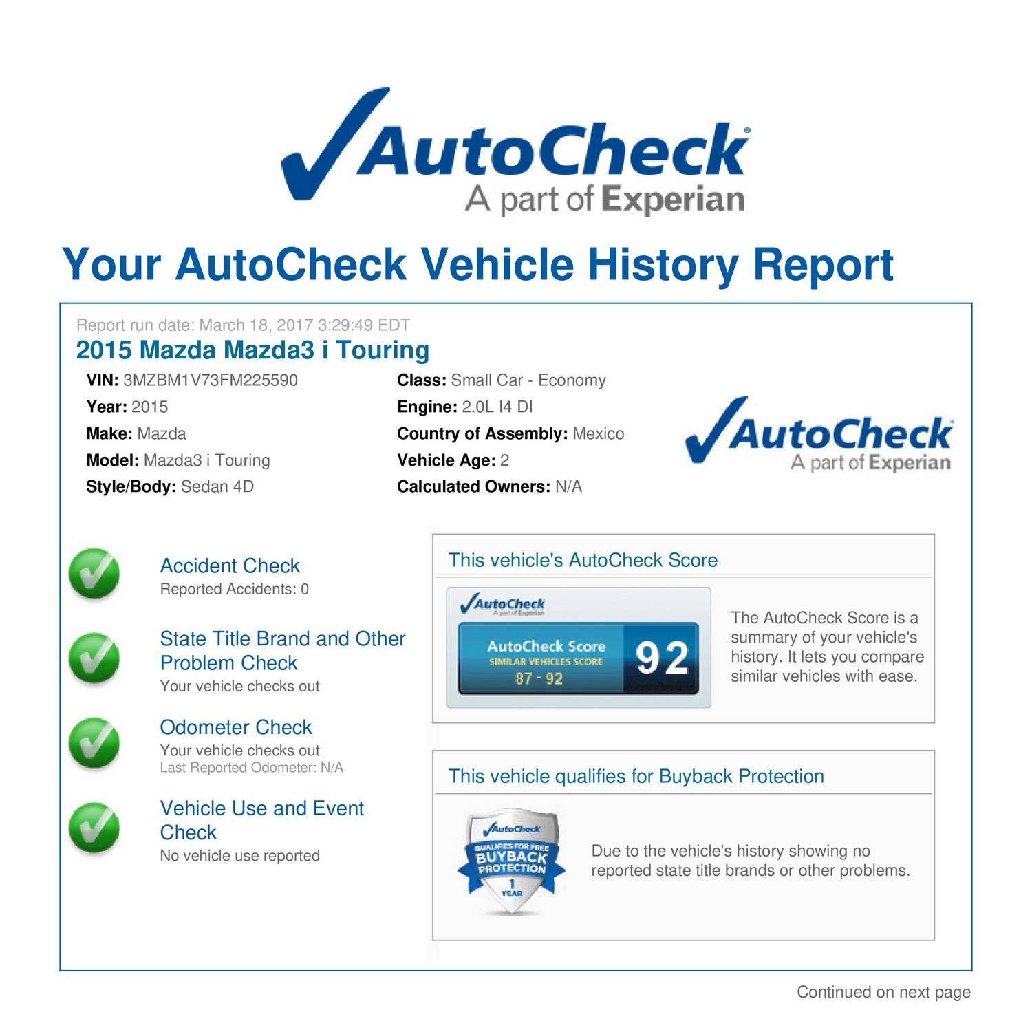 Cheap AutoCheck Report